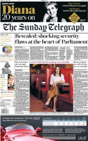 The Sunday Telegraph (UK) Newspaper Front Page for 27 August 2017