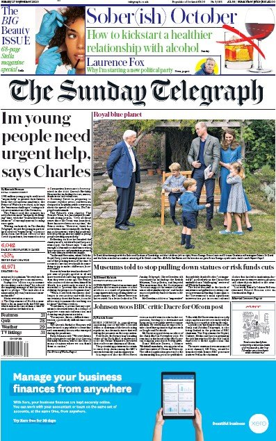 The Sunday Telegraph Newspaper Front Page (UK) for 27 September 2020