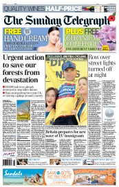 The Sunday Telegraph Newspaper Front Page (UK) for 28 October 2012