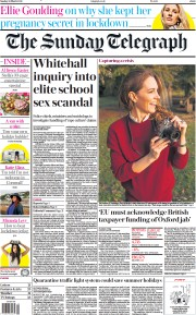 The Sunday Telegraph front page for 28 March 2021