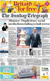 The Sunday Telegraph (UK) Newspaper Front Page for 28 May 2017