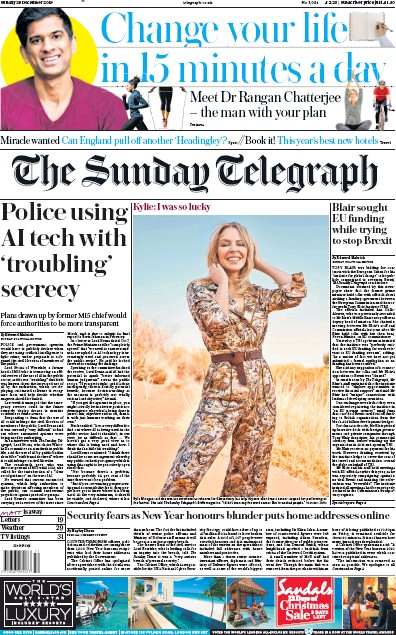 The Sunday Telegraph Newspaper Front Page (UK) for 29 December 2019