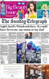 The Sunday Telegraph (UK) Newspaper Front Page for 29 April 2018