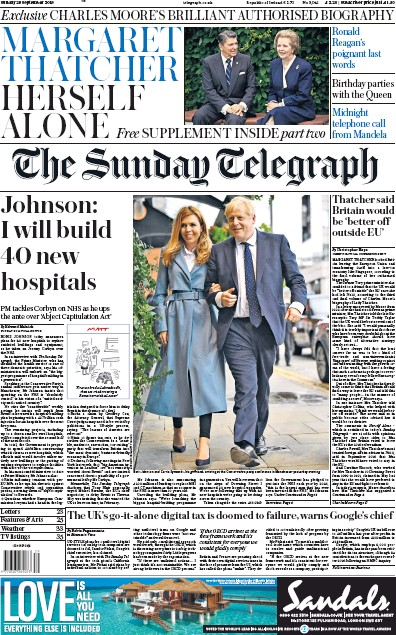 The Sunday Telegraph Newspaper Front Page (UK) for 29 September 2019