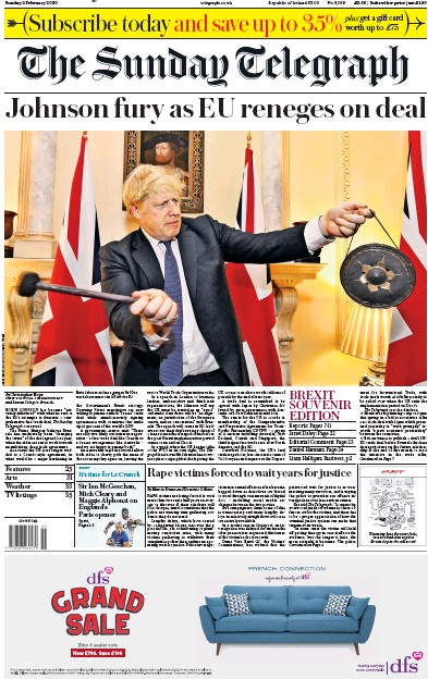 The Sunday Telegraph Newspaper Front Page (UK) for 2 February 2020