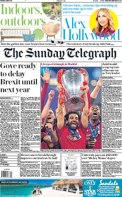 The Sunday Telegraph Newspaper Front Page (UK) for 2 June 2019