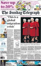 The Sunday Telegraph (UK) Newspaper Front Page for 2 August 2015