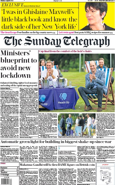 The Sunday Telegraph Newspaper Front Page (UK) for 2 August 2020