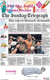 The Sunday Telegraph (UK) Newspaper Front Page for 30 April 2017