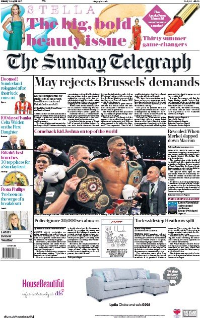 The Sunday Telegraph Newspaper Front Page (UK) for 30 April 2017