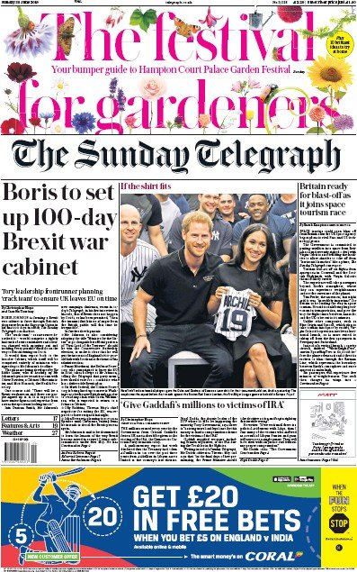The Sunday Telegraph Newspaper Front Page (UK) for 30 June 2019
