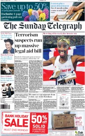 The Sunday Telegraph (UK) Newspaper Front Page for 30 August 2015
