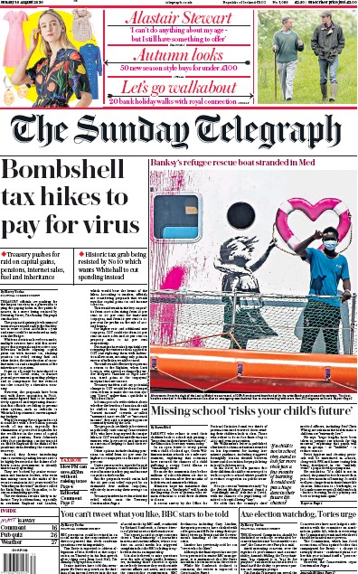 The Sunday Telegraph Newspaper Front Page (UK) for 30 August 2020