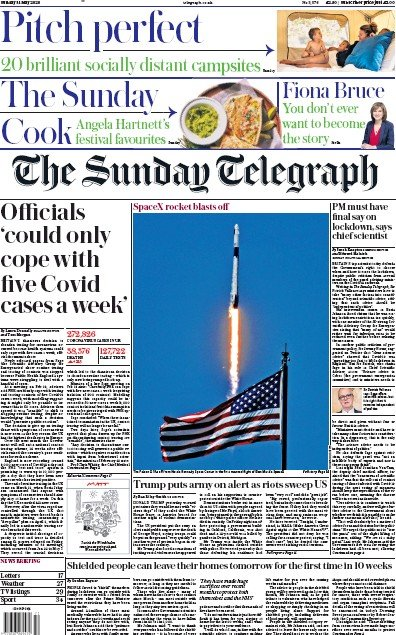 The Sunday Telegraph Newspaper Front Page (UK) for 31 May 2020
