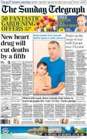 The Sunday Telegraph (UK) Newspaper Front Page for 31 August 2014