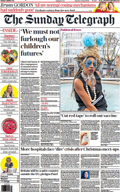 The Sunday Telegraph Newspaper Front Page (UK) for 3 January 2021