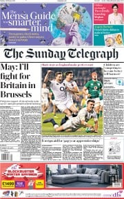 The Sunday Telegraph () Newspaper Front Page for 3 February 2019