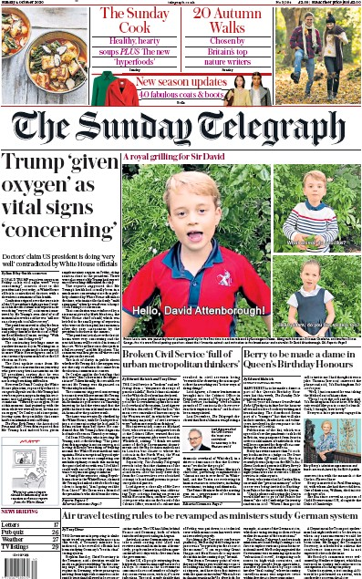The Sunday Telegraph Newspaper Front Page (UK) for 4 October 2020