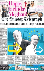The Sunday Telegraph (UK) Newspaper Front Page for 4 August 2019