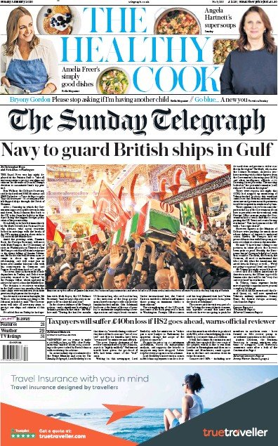 The Sunday Telegraph Newspaper Front Page (UK) for 5 January 2020