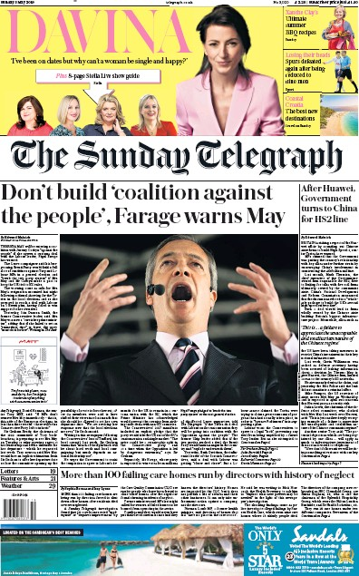 The Sunday Telegraph Newspaper Front Page (UK) for 5 May 2019