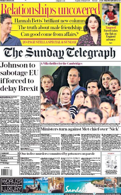 The Sunday Telegraph Newspaper Front Page (UK) for 6 October 2019