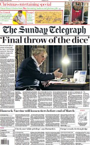 The Sunday Telegraph front page for 6 December 2020