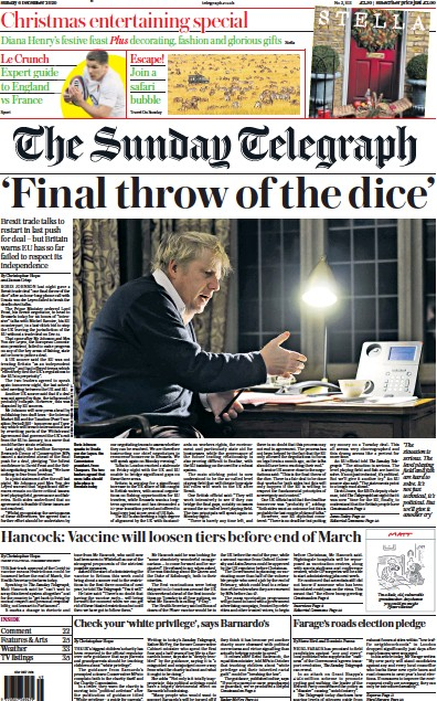 The Sunday Telegraph Newspaper Front Page (UK) for 6 December 2020