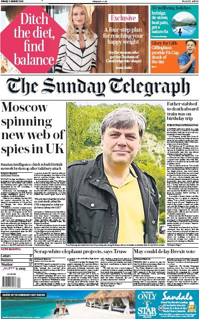 The Sunday Telegraph Newspaper Front Page (UK) for 6 January 2019