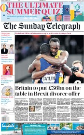 The Sunday Telegraph (UK) Newspaper Front Page for 6 August 2017
