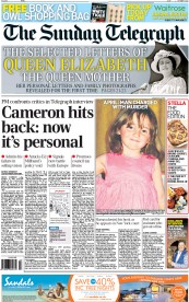 The Sunday Telegraph () Newspaper Front Page for 7 October 2012