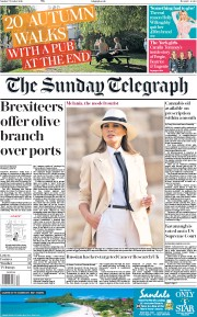 The Sunday Telegraph (UK) Newspaper Front Page for 7 October 2018
