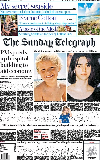 The Sunday Telegraph Newspaper Front Page (UK) for 7 June 2020