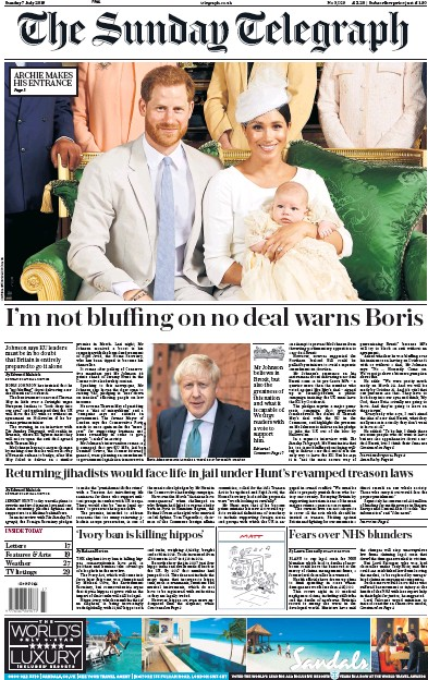 The Sunday Telegraph Newspaper Front Page (UK) for 7 July 2019