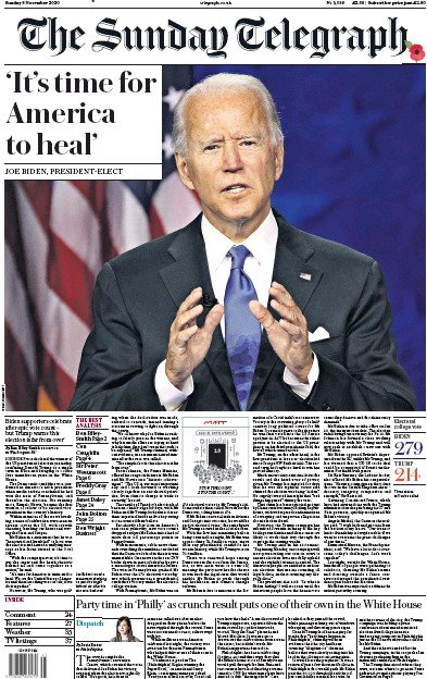 The Sunday Telegraph Newspaper Front Page (UK) for 8 November 2020