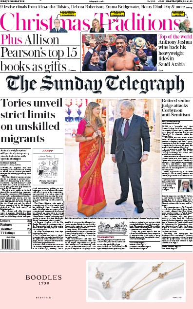 The Sunday Telegraph Newspaper Front Page (UK) for 8 December 2019