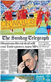The Sunday Telegraph (UK) Newspaper Front Page for 8 July 2018