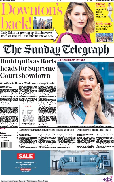 The Sunday Telegraph Newspaper Front Page (UK) for 8 September 2019