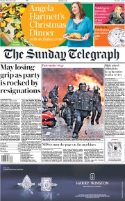 The Sunday Telegraph (UK) Newspaper Front Page for 9 December 2018