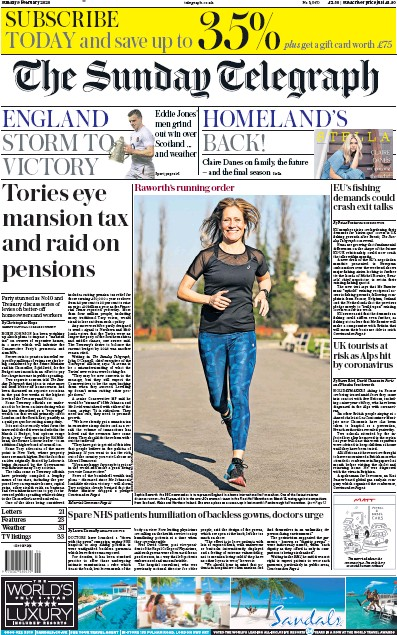 The Sunday Telegraph Newspaper Front Page (UK) for 9 February 2020