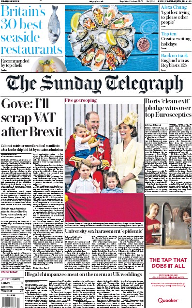 The Sunday Telegraph Newspaper Front Page (UK) for 9 June 2019