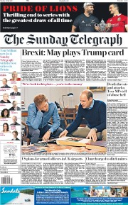 The Sunday Telegraph (UK) Newspaper Front Page for 9 July 2017