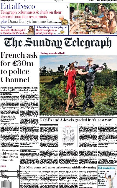 The Sunday Telegraph Newspaper Front Page (UK) for 9 August 2020