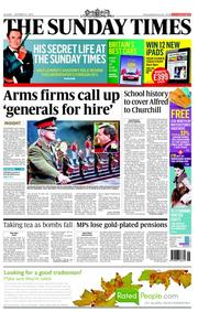 The Sunday Times (UK) Newspaper Front Page for 14 October 2012