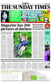 The Sunday Times Newspaper Front Page (UK) for 16 September 2012