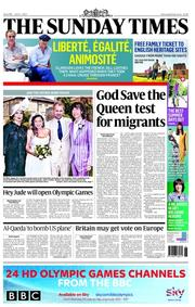 The Sunday Times Newspaper Front Page (UK) for 1 July 2012