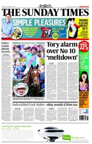 The Sunday Times () Newspaper Front Page for 21 October 2012
