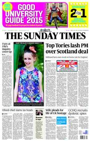 The Sunday Times (UK) Newspaper Front Page for 21 September 2014