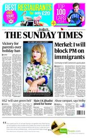 The Sunday Times (UK) Newspaper Front Page for 26 October 2014