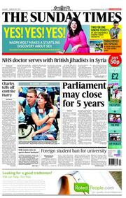 The Sunday Times (UK) Newspaper Front Page for 26 August 2012